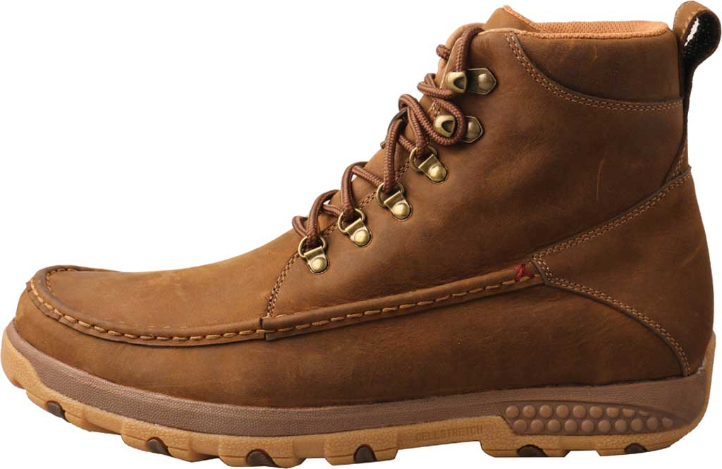 "Men's Twisted X MXC0011 6"" Moc Toe Boot, Distressed Saddle Full Grain Leather, large, image 3"