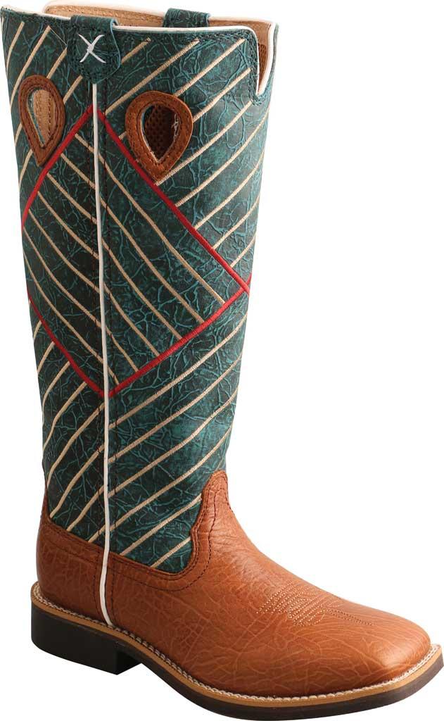Children's Twisted X YBK0010 Buckaroo Western Boot, Cognac Bull Hide/Dark Green Full Grain Leather, large, image 1