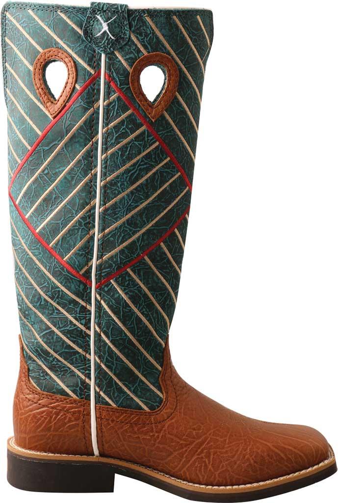 Children's Twisted X YBK0010 Buckaroo Western Boot, Cognac Bull Hide/Dark Green Full Grain Leather, large, image 2