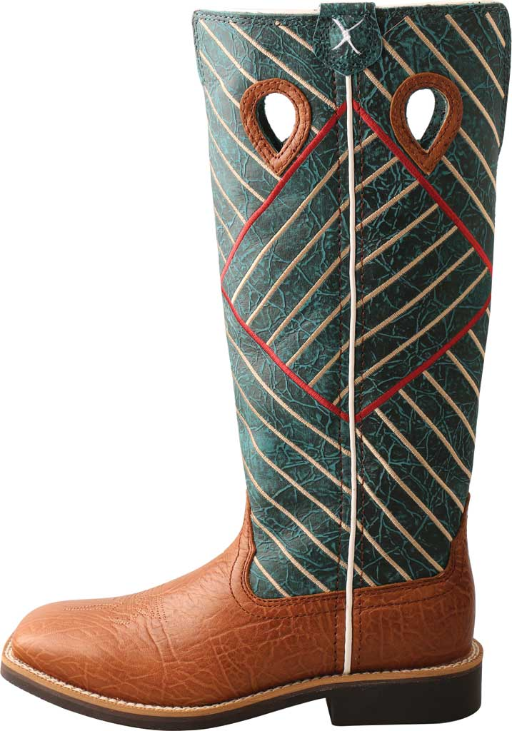 Children's Twisted X YBK0010 Buckaroo Western Boot, Cognac Bull Hide/Dark Green Full Grain Leather, large, image 3