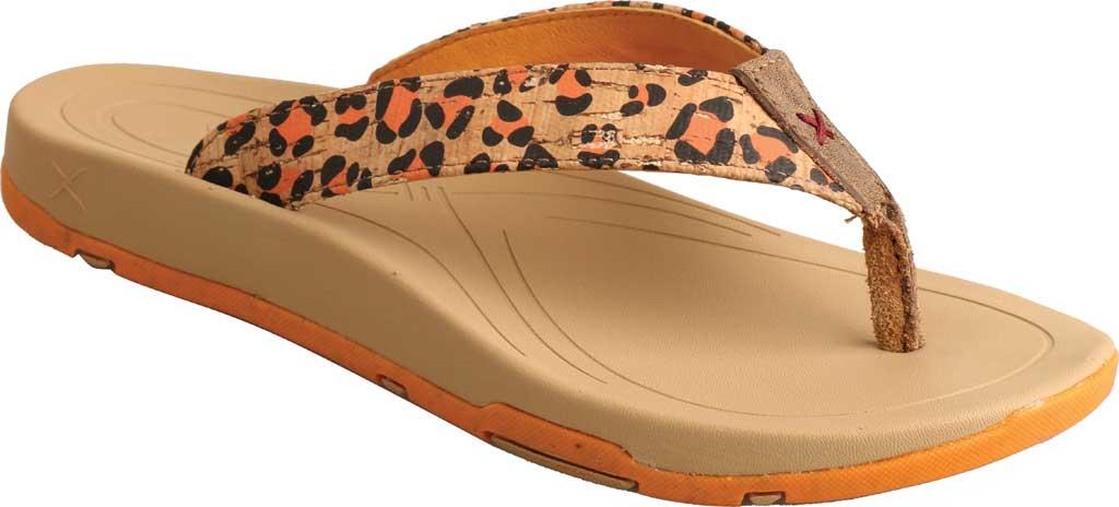 Women's Twisted X WSD0035 Flip Flop, Tan/Orange Leopard Print/Cork, large, image 1