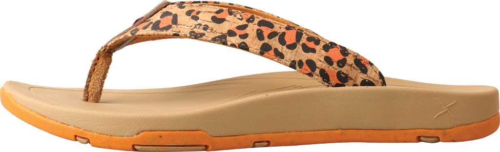 Women's Twisted X WSD0035 Flip Flop, Tan/Orange Leopard Print/Cork, large, image 3