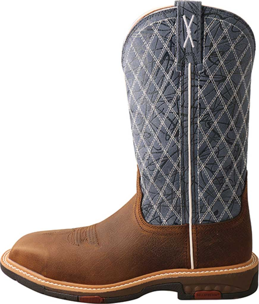 """Women's Twisted X WXBN001 11"""" Western Composite Toe Work Boot, Brown/Blue Full Grain Leather, large, image 3"""