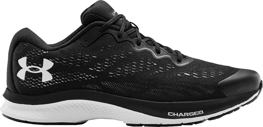 Men's Under Armour Charged Bandit 6 Running Sneaker, Black/White/White, large, image 2