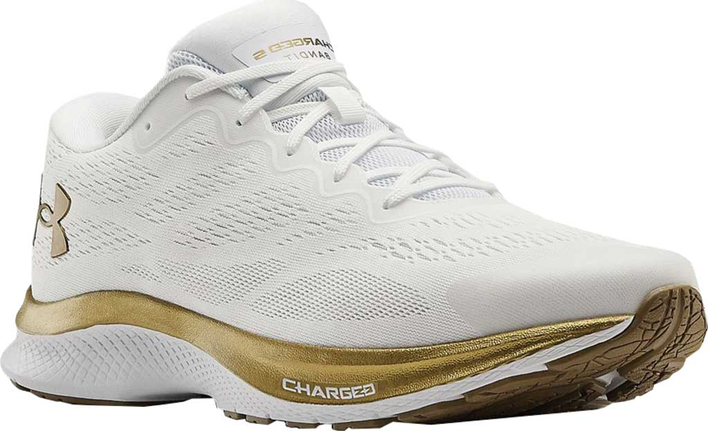 Men's Under Armour Charged Bandit 6 Running Sneaker, White/White/Metallic Gold Luster, large, image 1
