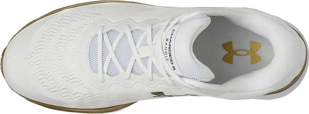 Men's Under Armour Charged Bandit 6 Running Sneaker, White/White/Metallic Gold Luster, large, image 4