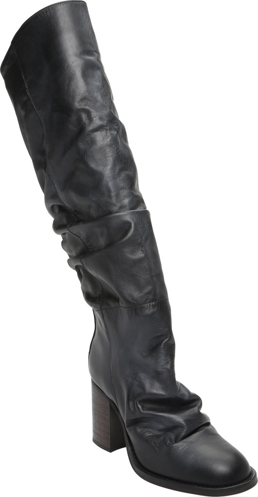 Women's Free People Elle Tall Slouch Boot, Black Burnished Leather, large, image 1
