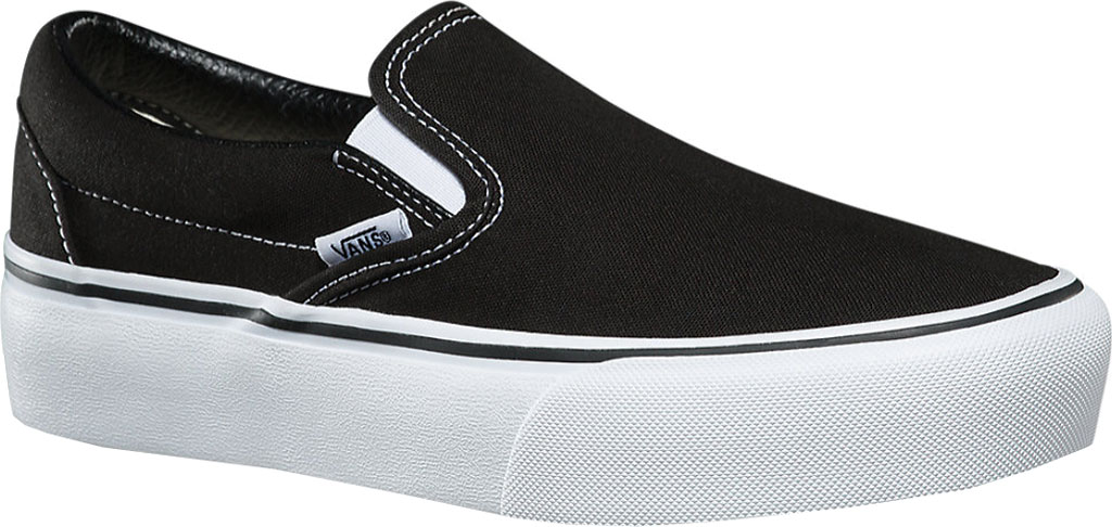 Vans Classic Slip-On Platform Sneaker, Black Canvas/Leather, large, image 1