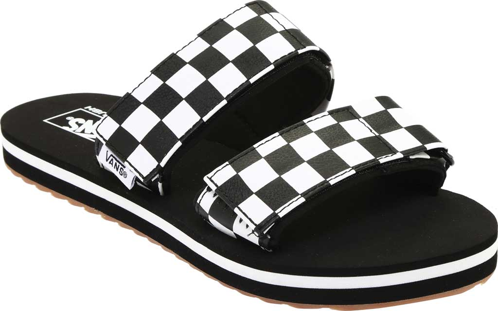 Women's Vans Cayucas Slide, Black Checkerboard Synthetic/Marshmallow, large, image 1