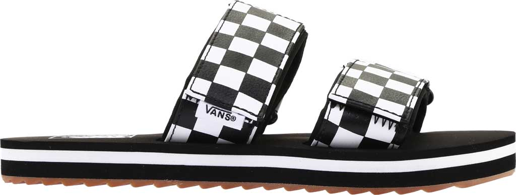 Women's Vans Cayucas Slide, Black Checkerboard Synthetic/Marshmallow, large, image 2