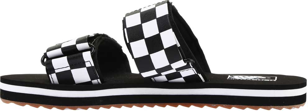 Women's Vans Cayucas Slide, Black Checkerboard Synthetic/Marshmallow, large, image 3
