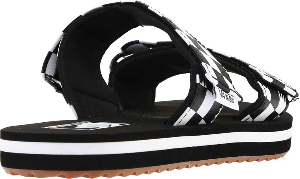 Women's Vans Cayucas Slide, Black Checkerboard Synthetic/Marshmallow, large, image 4