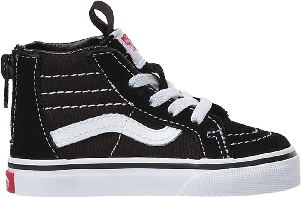 Infant Vans Sk8 Hi Zipper Back Canvas Sneaker - Toddler, Black/White, large, image 1
