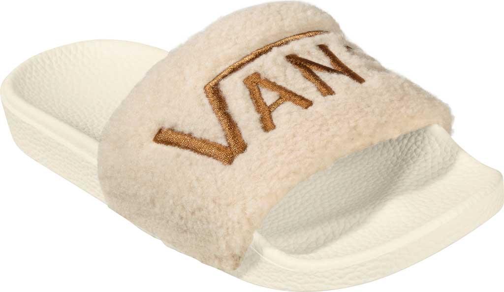 Women's Vans Slide-On Sherpa Sandal, Chipmunk/Marshmallow, large, image 1
