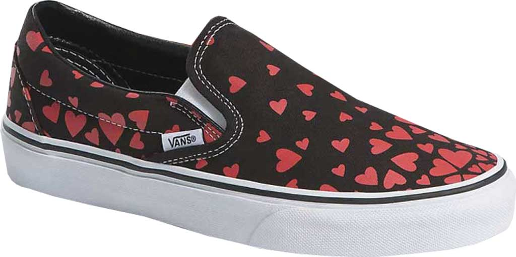 Vans Classic Slip-On Valentines Hearts, (Valentines Hearts) Black/Racing Red, large, image 1