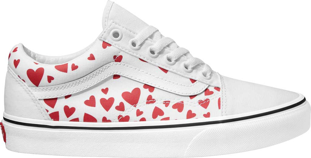 Vans Old Skool Sneaker Valentines Hearts, (Valentines Hearts) True White/Racing Red, large, image 1