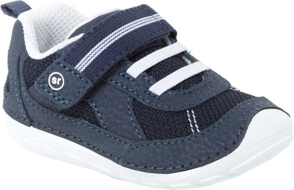 Infant Stride Rite SM Jamie Sneaker, Navy/White Leather/Mesh, large, image 1
