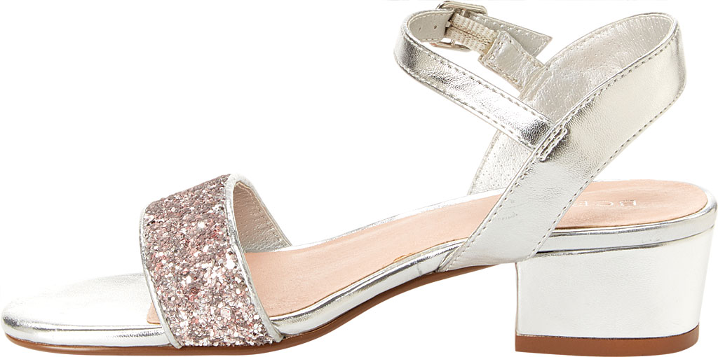Girls' BCBG Girls Hilary Sandal, Silver Metallic Faux Leather, large, image 2