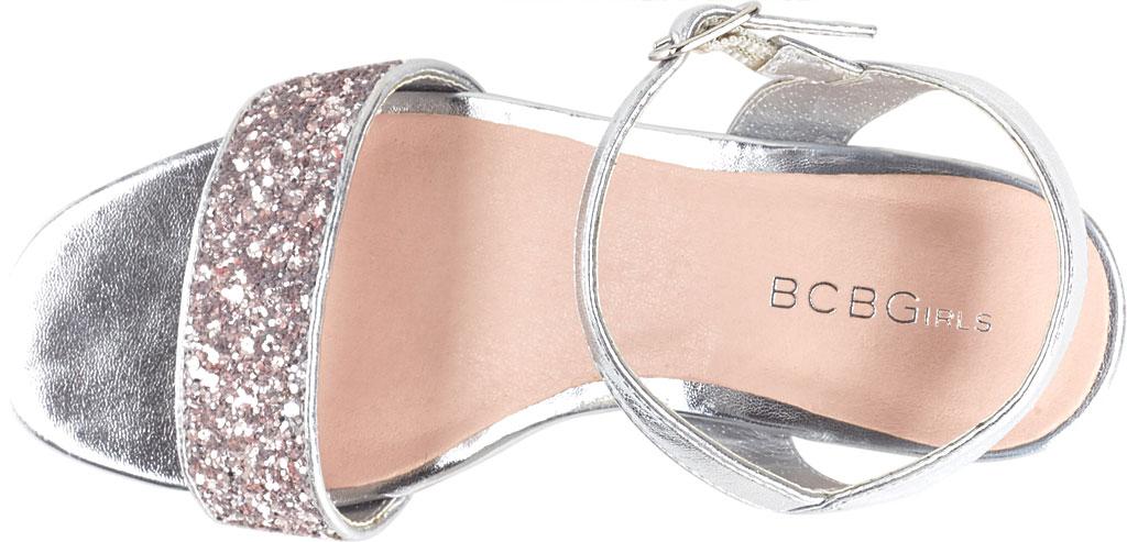 Girls' BCBG Girls Hilary Sandal, Silver Metallic Faux Leather, large, image 4