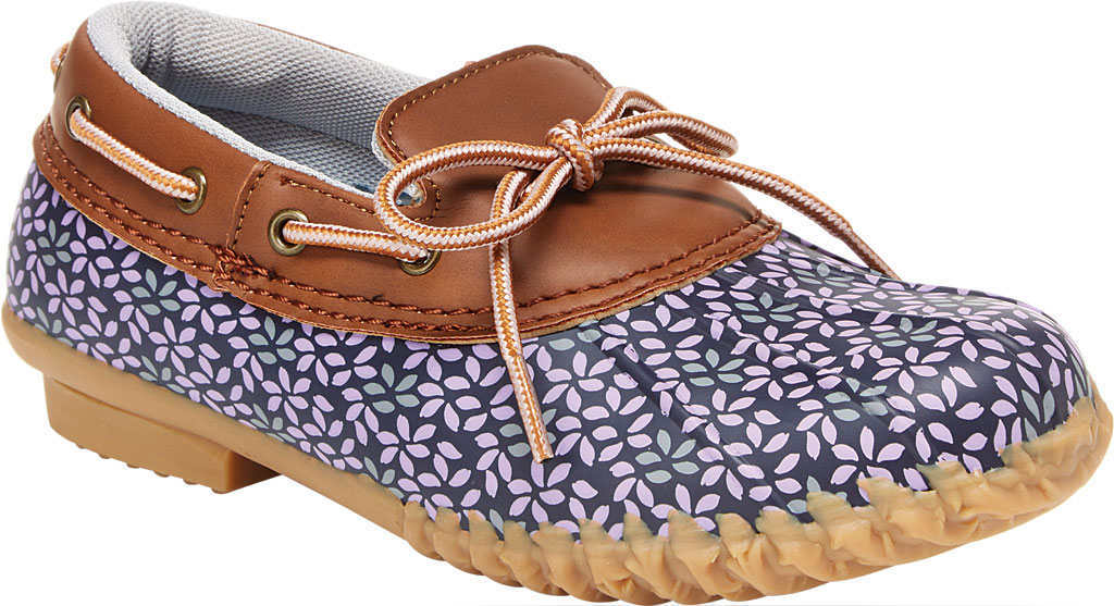 Women's Jambu JBU Gwen Garden Ready Duck Shoe, Navy/Lilac Floral Brushed Vegan Suede/Rubber, large, image 1