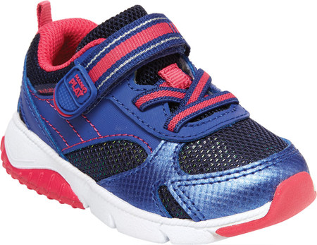 Infant Girls' Stride Rite M2P Indy Sneaker, Navy/Pink Leather/Mesh, large, image 1