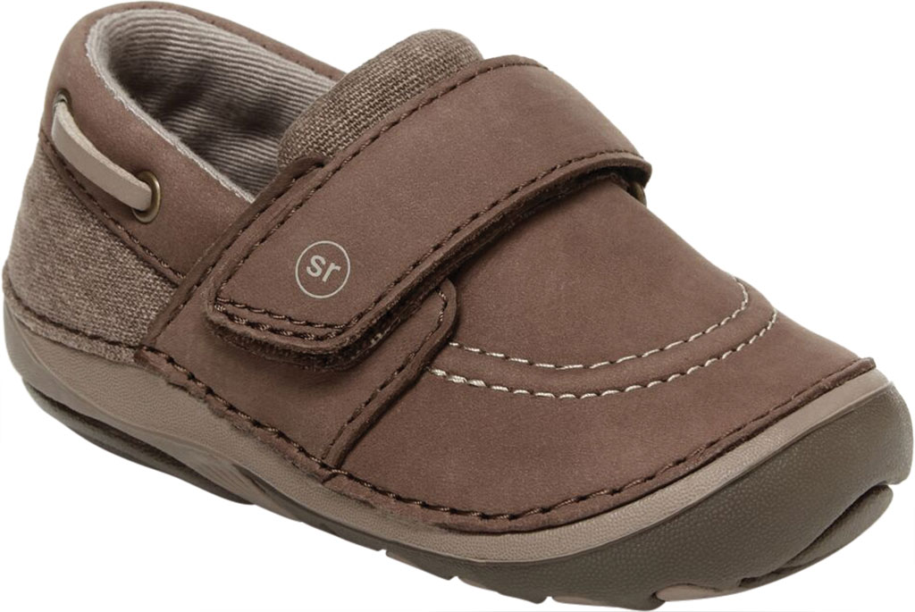 Infant Boys' Stride Rite SM Wally Slip On, Brown Leather/Canvas, large, image 1