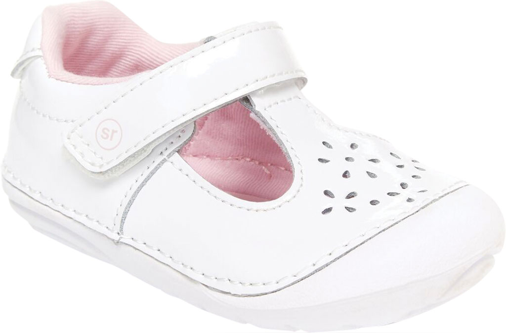 Infant Girls' Stride Rite SM Amalie T-Strap, White Patent Leather, large, image 1