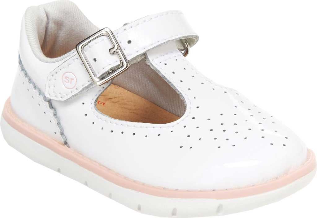 Infant Girls' Stride Rite SRT Nell Perforated T-Strap, White Patent Leather, large, image 1