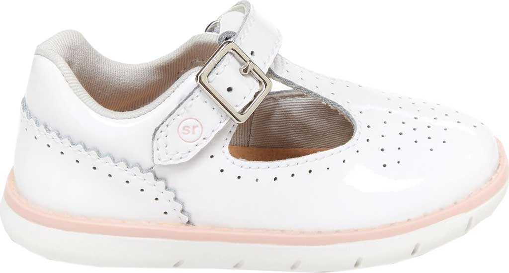 Infant Girls' Stride Rite SRT Nell Perforated T-Strap, White Patent Leather, large, image 2