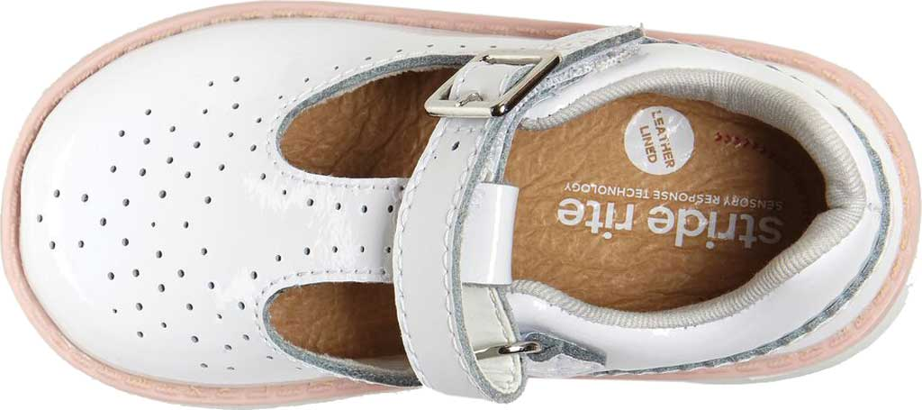 Infant Girls' Stride Rite SRT Nell Perforated T-Strap, White Patent Leather, large, image 4