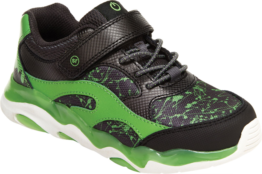 Boys' Stride Rite SR Lighted Swirl Sneaker, Black/Lime Canvas Fabric/Mesh, large, image 1