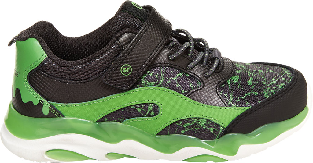 Boys' Stride Rite SR Lighted Swirl Sneaker, Black/Lime Canvas Fabric/Mesh, large, image 2