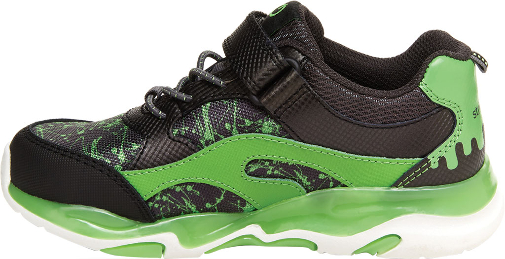 Boys' Stride Rite SR Lighted Swirl Sneaker, Black/Lime Canvas Fabric/Mesh, large, image 3