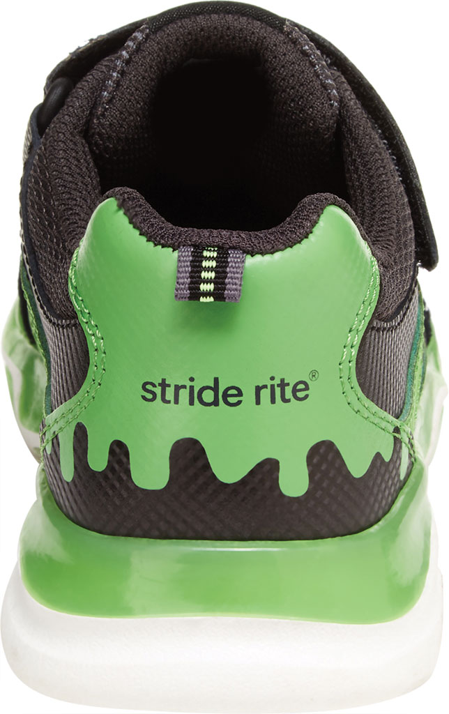 Boys' Stride Rite SR Lighted Swirl Sneaker, Black/Lime Canvas Fabric/Mesh, large, image 4