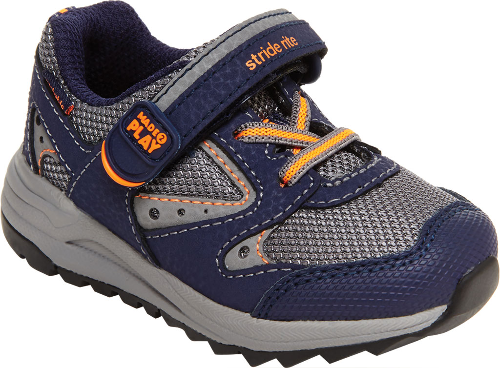 Infant Boys' Stride Rite M2P Xander Sneaker, Navy Canvas/Leather, large, image 1