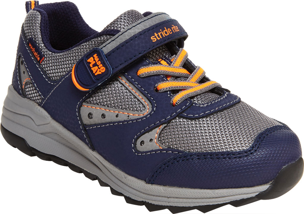 Boys' Stride Rite M2P Xander Sneaker, Navy Canvas/Leather, large, image 1