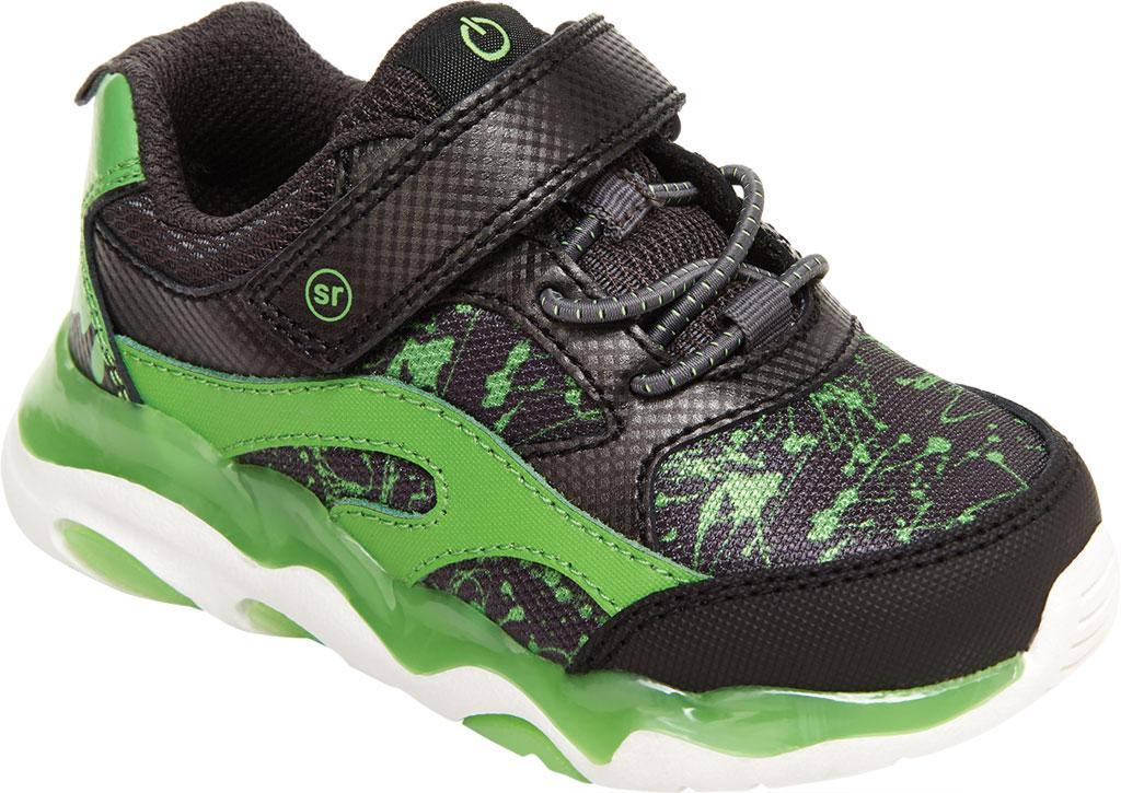 Infant Boys' Stride Rite SR Lighted Swirl Sneaker, Black/Lime Canvas/Leather, large, image 1