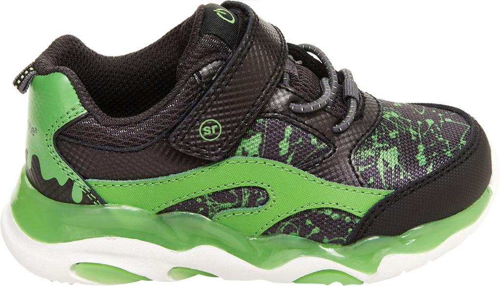 Infant Boys' Stride Rite SR Lighted Swirl Sneaker, Black/Lime Canvas/Leather, large, image 2