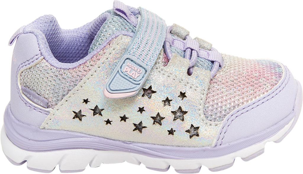 Infant Girls' Stride Rite M2P Moriah Sneaker, Lavender Glitter Leather/Mesh, large, image 2