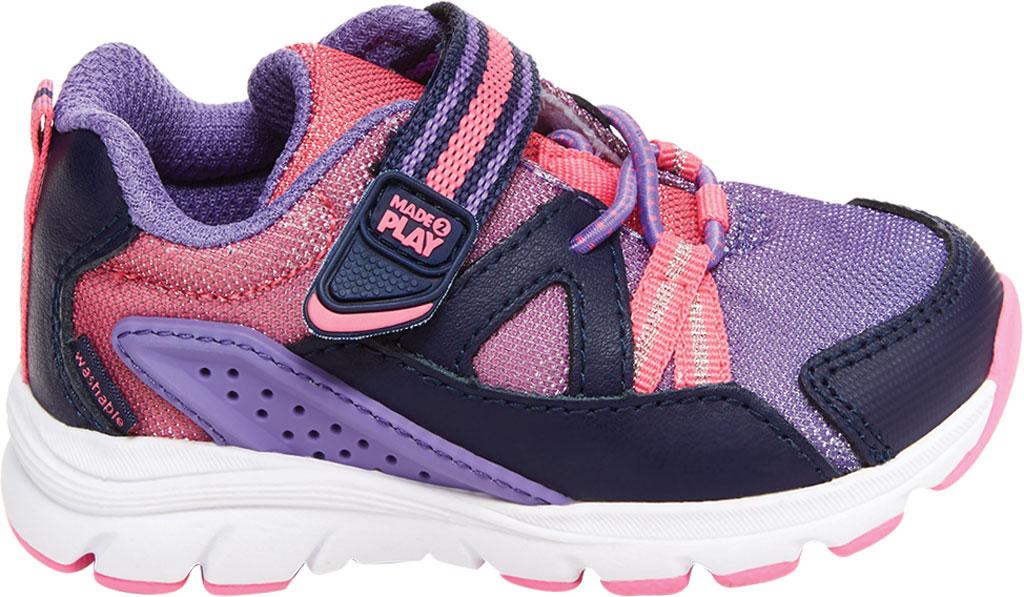 Infant Girls' Stride Rite M2P Journey Sneaker, Purple Multi Leather/Cotton Mesh, large, image 2