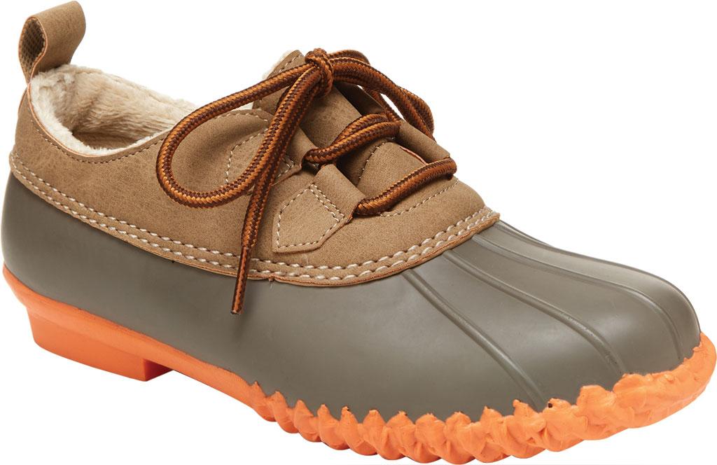 Women's Jambu JBU Glenda Waterproof Duck Shoe, Taupe/Coral Vegan Crazy Horse/Rubber, large, image 1
