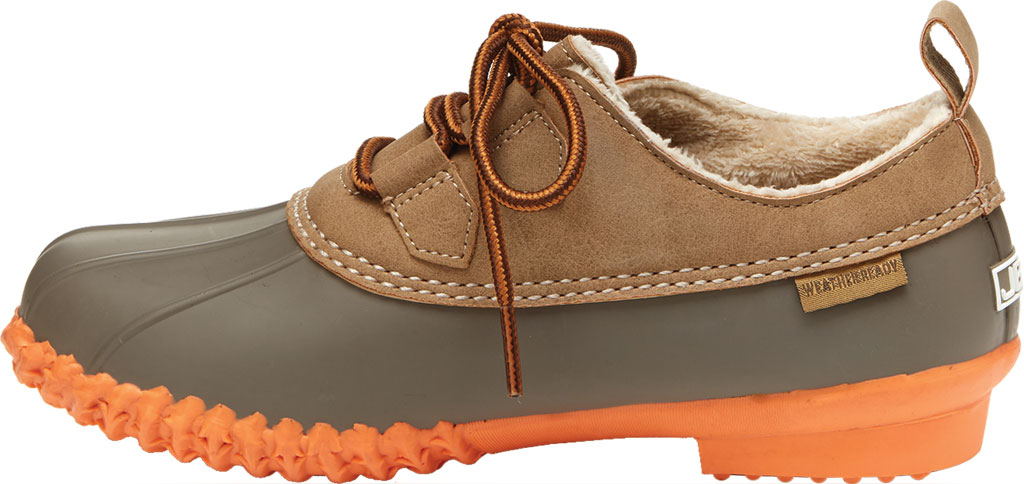Women's Jambu JBU Glenda Waterproof Duck Shoe, Taupe/Coral Vegan Crazy Horse/Rubber, large, image 3