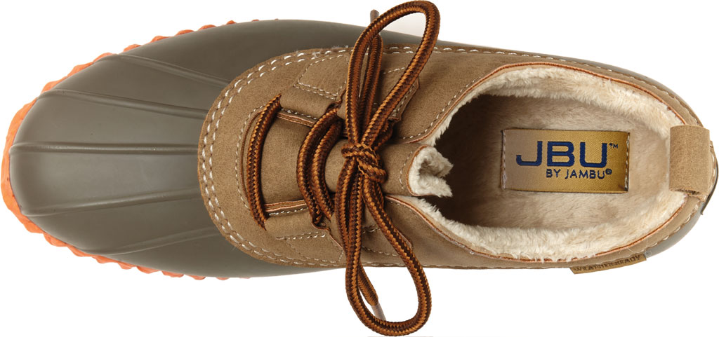 Women's Jambu JBU Glenda Waterproof Duck Shoe, Taupe/Coral Vegan Crazy Horse/Rubber, large, image 5