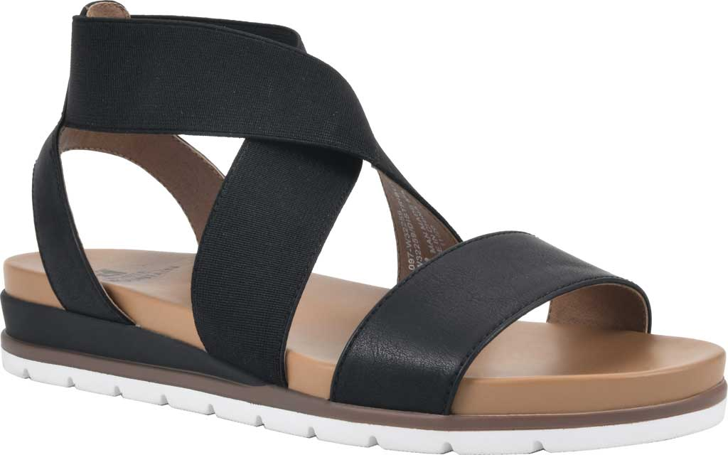 Women's White Mountain Distribute Strappy Sandal, Black Faux Burnished Leather, large, image 1