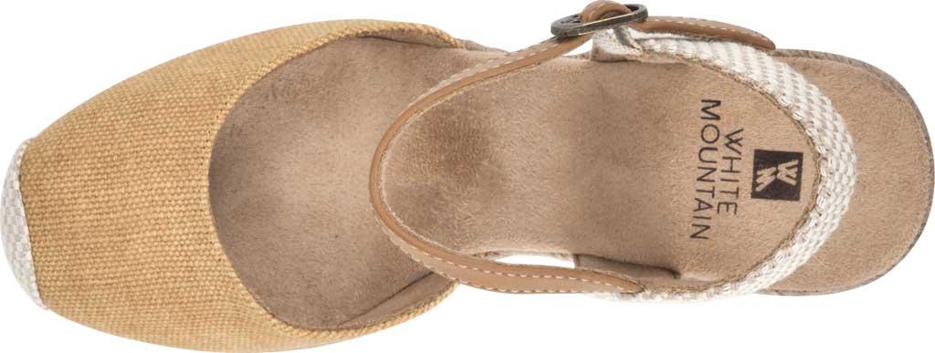 Women's White Mountain Maestro Wedge Espadrille Sandal, Honey Canvas Fabric/Burnish PU, large, image 5