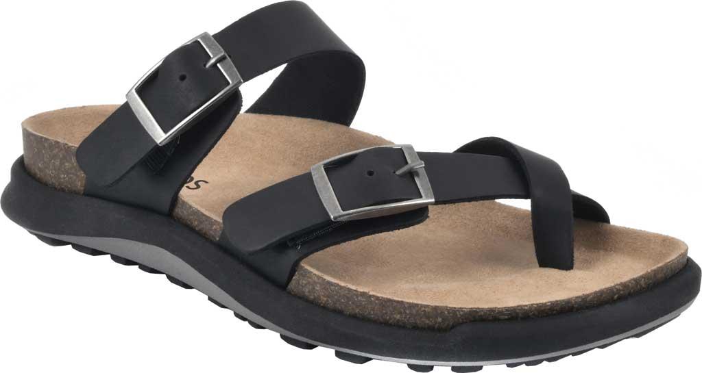 Women's White Mountain Powerful Toe Loop Sandal, Black Soft Crazy Horse Leather, large, image 1