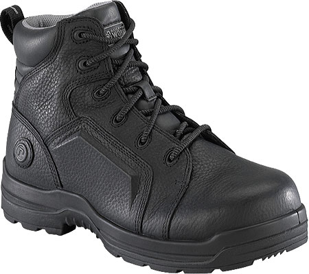 Men's Rockport Works RK6635, Black Waterproof Tumbled Full Grain Leather, large, image 1