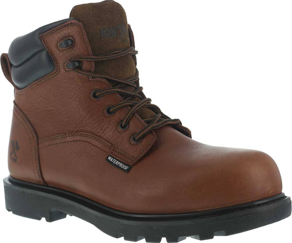 "Men's Iron Age Hauler 6"" Waterproof Work Boot IA0160, Brown Leather, large, image 1"