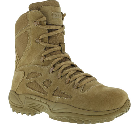 """Men's Reebok Work 8"""" Rapid Response RB RB8977 Soft-Toe Military Boot, Coyote Brown Cattlehide Leather, large, image 1"""