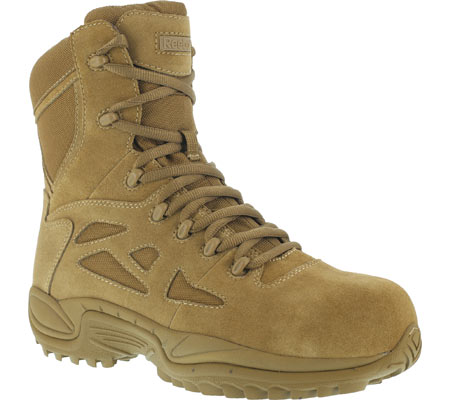 "Men's Reebok Work Rapid Response RB RB8850 8"" Military Side Zip Boot, Coyote, large, image 1"